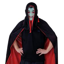 halloween costumes black and red hooded cloak luminous