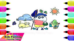 how to draw crayon shin chan catch insects painting coloring