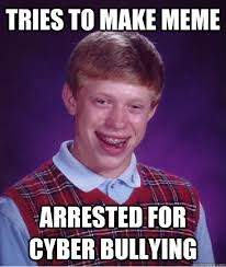 How To Make A Meme Photo - tries to make meme arrested for cyber bullying bad luck brian