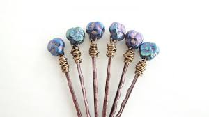 decorative hair pins woodland violets hair pins purple blue glass flowers wildflower