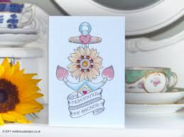 handmade mother u0027s day card anchor and sunflower tattoo