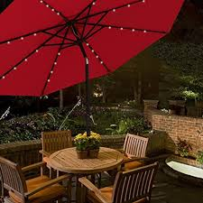 Lighted Patio Umbrella Cobana 9 Ft 32 Solar Powered Led Lighted Outdoor Table Umbrella Alumin