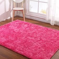 amazon com hoomy modern pink rug for girls room shaggy