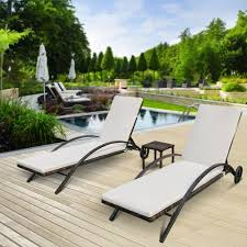 Outdoor Chaise Lounge Furniture Ikayaa 3pcs Rattan Wicker Patio Chaise Lounge Chair Set Sales