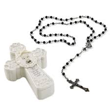 black rosary precious moments communion boy cross box with black rosary