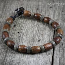 mens beaded jewelry bracelet images Handmade leather beaded mala style bracelets by sol creations jpg