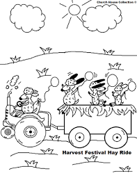fall festival hay ride coloring page