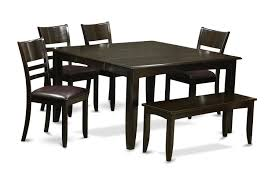 Dinette4less by 6 Piece Dining Set With Bench Dining Table With Leaf And 4 Dinette