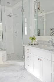 going for this look light grey floor tiles white vanity quartz