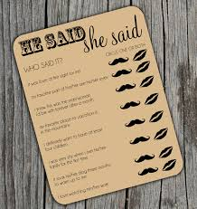kitchen tea game ideas he said she said bridal shower activity game on kraft brown paper