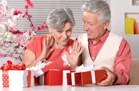 elderly gifts elderly with gifts stock image image of pensioner 32318095