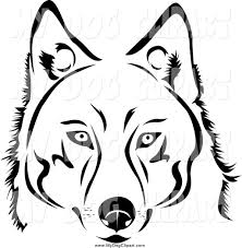 clip art of a black and white husky dog by vector tradition sm 3535
