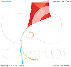 royalty free rf clipart illustration of a flying red kite with