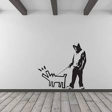 banksy dog barking at intruder wall art by vinyl revolution