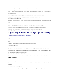 Profile For Resume Example by Approaches And Methods In Language Teaching