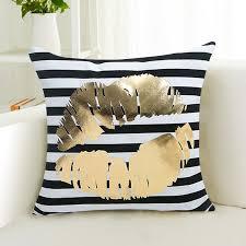 Throws And Cushions For Sofas Gold Metallic Love Letter Pillow Case Sofa Waist Throw Cushion