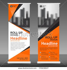 layout banner template orange roll up banner stand template design flyer layout vector
