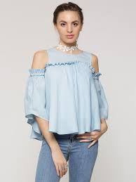 cold shoulder tops buy ruffle cold shoulder top for women women s powder blue