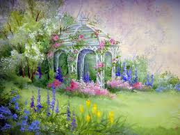 english garden mural wallpapers flower painting gardens and