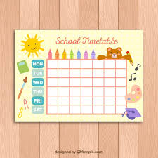 cute timetable template for kids vector free download