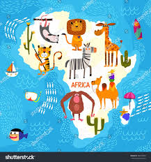 cartoon world map traditional animals illustrated stock vector