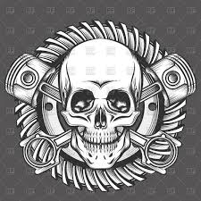 vintage skull with crossed piston emblem royalty free vector clip