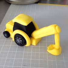 bake a boo the little yellow digger truck cake topper tutorial