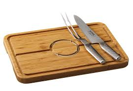 global knives 3 piece carving set with bamboo spiked meat dish