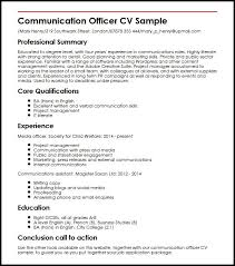 Resume Core Qualifications Examples by Communication Officer Cv Sample Myperfectcv