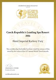 world travel awards for hotel imperial spa hotel imperial cz
