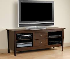rectangle grey led tv over brown wooden cabinet with drawer on