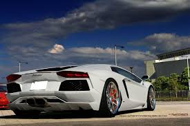 Lamborghini Aventador Exhaust - aventador rolling on polished hyper forged wheels