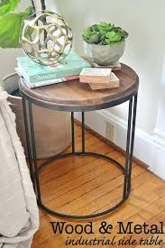 round industrial side table diy round end table industrial rustic round table industrial side