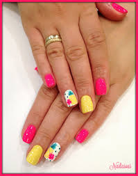 fuchsia nails with pineapple design nailicious my beauty salon