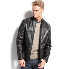 mens moto jacket calvin klein mens leather moto jacket in black for men lyst