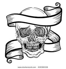 skull ribbon vector illustration with a human skull and ribbon