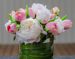 Fake Flowers For Home Decor Pink Peony Silk Arrangement Artificial Flowers Faux