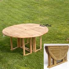 round wood patio table mardel teak butterfly round folding outdoor table
