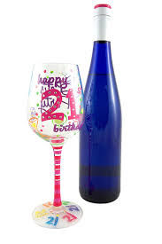 happy birthday margarita glass amazon com top shelf 21st birthday wine glass hand painted
