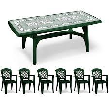 Garden Table Plastic President 7 Piece Resin Rectangular Set 200x95cm In Forest Green
