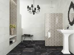 contemporary black and white bathroom with marble floors