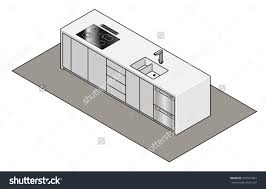 kitchen island bench builtin sink tap stock vector 244547851