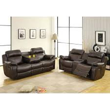 leather reclining sofa loveseat bonded leather reclining sofa set with drop down table and drawer
