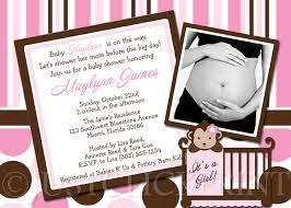 s shower invitations pink brown modern monkey polka dots stripes baby shower invitation