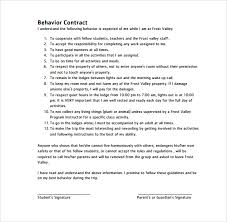 behaviour report template behavioral contract template template business