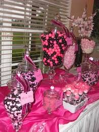 Pink And Black Candy Buffet by This Is Cute Except Do The Ballons Hanging From The Celing Over
