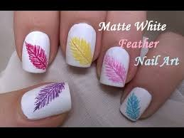 matte white nails design how to easy feather nail art youtube