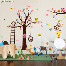 forest wall sticker kids promotion shop for promotional forest new style large forest animals bird cage tree wall sticker art decal decor kid nursery removeable cartoon wallpaper