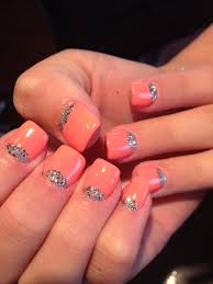 half moon glitter nails with gel color on top acrylic nails by