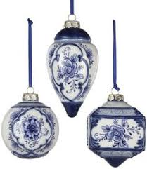 delft ornament painted blue and white heirloom
